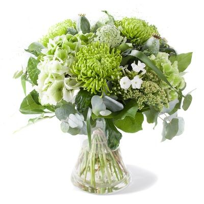 Clear Green And White Bouquet Of Mixed Flowers