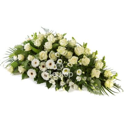 Funeral Spray Oval White 91338 For Delivery In The Netherlands