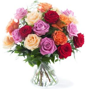 Bouquet of mixed roses (short stem)