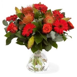 Season red bouquet of mixed flowers